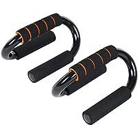 SONGMICS Manijas Push Up en Forma de S, Soportes para Flexiones y Otros Entrenamientos, Fitness Color Negro-Naranja SPU82S