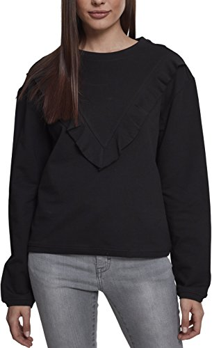 Urban Classics Damen Pullover Ladies Terry Volant Crew, Schwarz (Black 00007), X-Large (Herstellergröße: XL) (Long Sleeve Terry Hoodie)