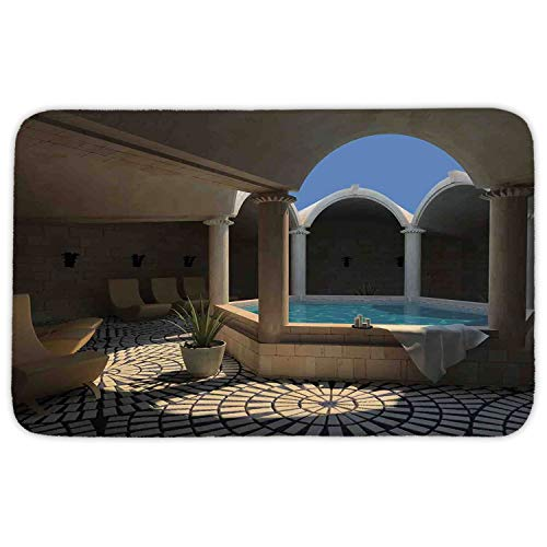 Rectangular Area Rug Mat Rug,Landscape,Inside View of A Spa Hotel with Bathtub in the Circle Centre Therapy Photo Print Decorative,Grey Blue,Home Decor Mat with Non Slip Backing,23.6 X 15.7 Inch (Fiesta En De Hoteles Halloween)