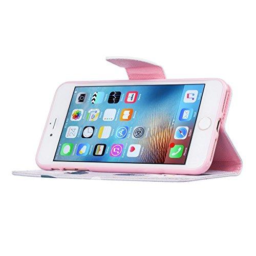 iPhone 7 Plus Coque, Apple iPhone 7 Plus Coque, Lifeturt [ Fleurs roses ] Motif Pure Couleur Housse en Cuir Case à Avec La Fonction Stand Coque de Intérieure Protection Souple Coque Portefeuille TPU S E2-Fleurs roses