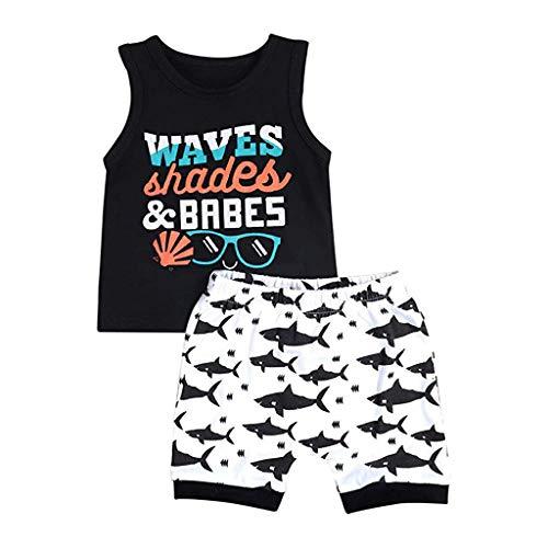 wuayi  Bekleidungssets für Baby-Jungen, Jungen ärmellose Weste + Cartoon Shark Print Shorts, Sommerkleidung 6 Monate - 4 Jahre (Schlafanzug Jungen Shark)