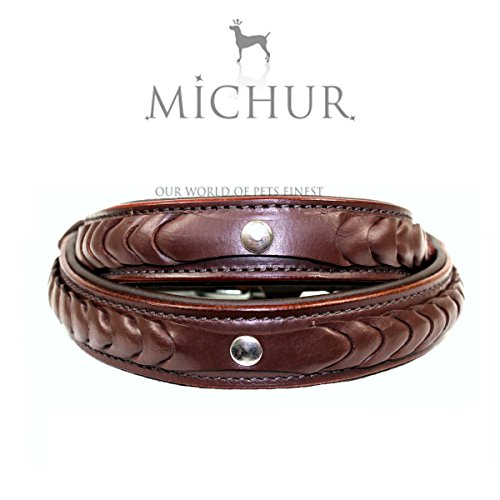 MICHUR MAX, Dog Collar, Leather Dog collar, leather collar, Brown, Calf nappa leather, 1