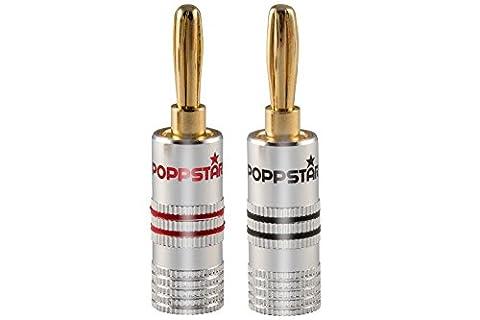 Poppstar 2x Bananenstecker, Bananas für Lautsprecherkabel (bis 6 mm²), AV Receiver, 24k vergoldet (1x schwarz, 1x rot)