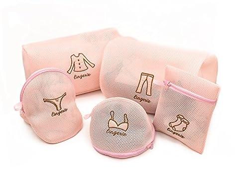 Vancool Ensemble de 5 sacs de lessive en maille pour machine à laver - 2 grands, 1 moyen et 2 petits pour la blanchisserie, le chemisier, la bonneterie, le bas, les sous-vêtements, le soutien-gorge et la lingerie, sac de voyage avec fermeture éclair Premium