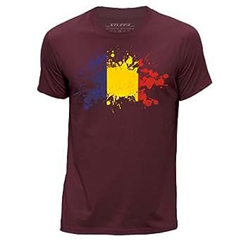 STUFF4 Herren/Rundhals T-Shirt/Rumänien/Rumänisch Flagge Splat/CS