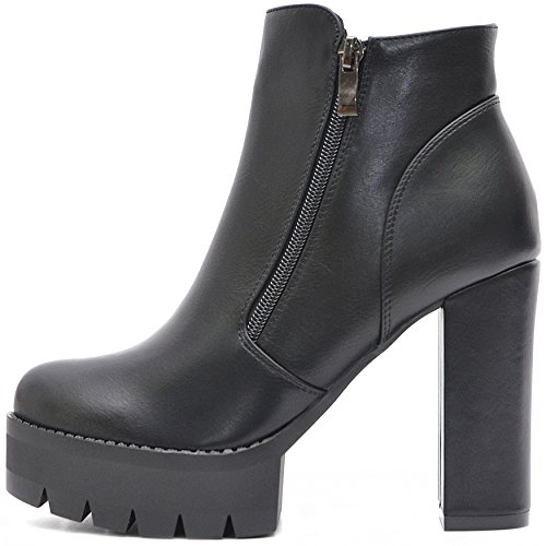 Domina-schuhe (Vain Secrets Damen Schuhe Plateau Boots Stiefeletten mit Profil Sohle in Schwarz Matt (36, Schwarz))