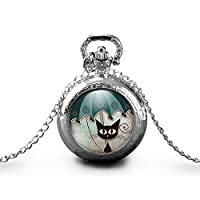 "Necklace pocket watch - cat""The cat with the umbrella"" - woman christmas present - woman birthday - valentine"