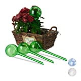 Relaxdays Set 4 Sfere per irrigazione, dosatori d'Acqua per Piante da Vaso, Durata 2 Settimane, PVC, Verde, 27 cm ca