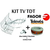Kit TDT Antena FAGOR Rhombus 5P + 20M Cable TELEVES + Conectores