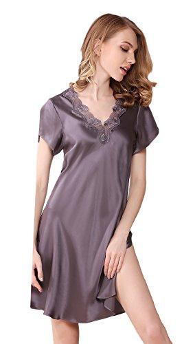 Tulpen Damen Seide Schlafkleider Kurzarm 100% Maulbeerseide Schlafanzug Violettgrau