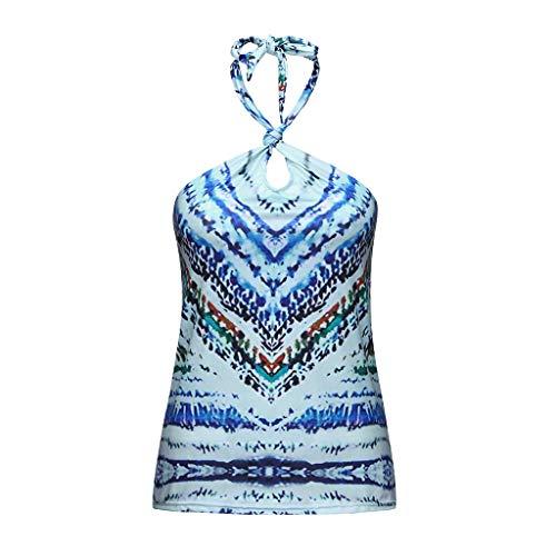 Damen Freizeit Ärmellos Böhmischer Druck Camisole Weste, JMETRIC Reizvolles Halfter Krawatte Weste T-Shirt Tops Oben(Blau,M)