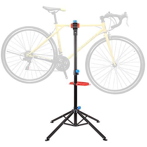 FEMOR Fahrradmontageständer mit Werkzeugablage Fahrrad Reparaturständer höhenverstellbar & klappbar, vierbeiniger Werkzeugständer für Fahrradreparatur, belastbar bis 50kg -