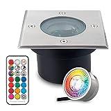 Faretto piatto RGB da incasso a pavimento con lampadina LED sostituibile - 11 colori + bianco caldo - IP67 - Acciaio inox - 70 mm - rettangolare