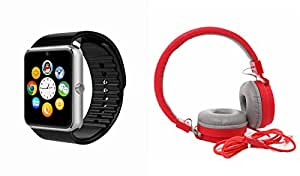MIRZA Bluetooth GT08 Smart Wrist Watch & JBL 881C Bluetooth Headphones for OPPO JOY PLUS(JBL 881C Bluetooth Headphones & Bluetooth GT08 Smart Watch Wrist Watch Phone with Camera & SIM Card Support Hot Fashion New Arrival Best Selling Premium Quality Lowest Price with Apps like Facebook, Whatsapp, Twitter, Sports, Health, Pedometer, , Compatible with Android iOS Mobile Tablet-Silver Color)