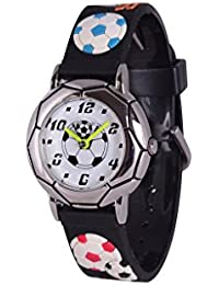 Wolfteeth Niños Jóvenes De Los Niños Reloj De Reloj Analógico Resistente Al Agua Reloj Deportivo, 3D Fútbol Bandera De Reloj Negro 306701