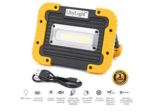 Projecteur LED Rechargeable ULTRA COMPACT 10w | 1000Lm | 7 Heures d' Autonomie | Étanche | Batterie Secours 4400mAh | Pour Chantier Garage Bricolage Travaux Camping