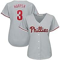 Harper Phillies 3# Uniforme de béisbol para Mujer, Uniforme de béisbol Juego de Manga Corta Botón del Equipo Parte Superior del botón, Sudadera Uniforme de Entrenamiento S-3XL-grey-XL