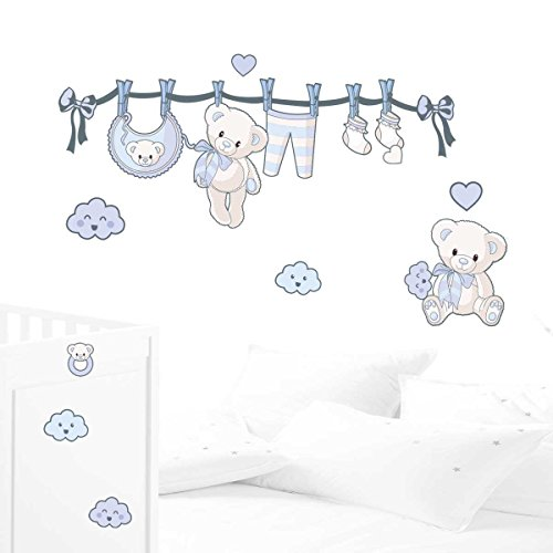 JUJU & COMPAGNIE - Kit completo Orsetto nascita composto da adesivi murali con orsetti, dimensioni: 50 x 90 cm, colore: azzurro