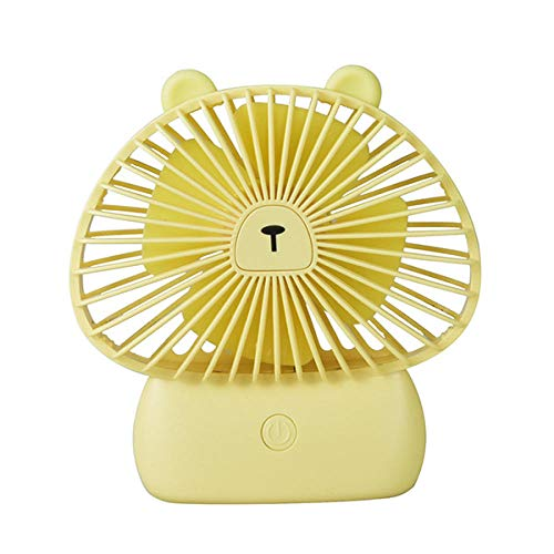 ELECTION USB Ventilator Tragbarer Kleiner Lüfter Niedlicher Fan der Beckham-Pilzkatze Kopfhörer Design Wearable Necklance-Lüftermit Led Doppeltem Windkopf(Gelber Bär)