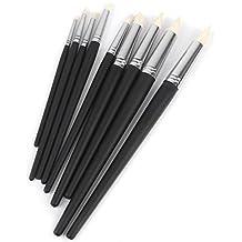 ULTNICE Herramientas de Modelado para Arcilla Fimo Barro Escultura Pinceles Kit Negro 9 Piezas