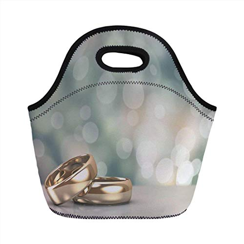 Portable Bento Lunch Bag,Wedding Decorations,Two Wedding Engagement Rings on Bokeh Abstract Background,Gold Pale Green Blue,for Kids Adult Thermal Insulated Tote Bags