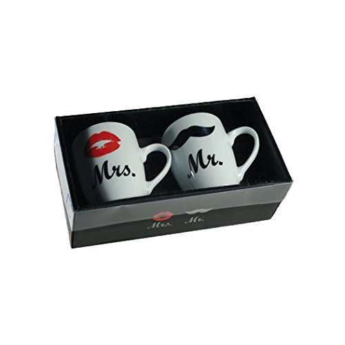 S.Ariba   78-8217 Mr. & Mrs. Kaffeetassen Geschenk Set aus Porzellan Hochzeit