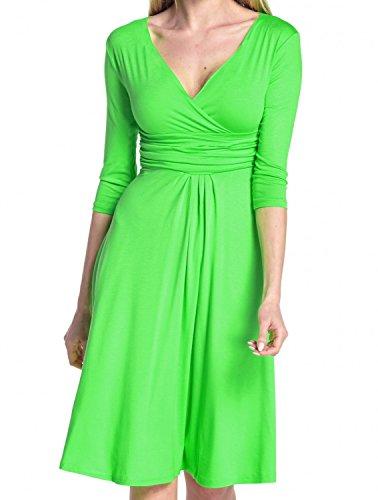 Glamour Empire Femme Robe d'été élégante Manches 3/4 Col V 282 Green