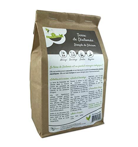 Eco-conseils - Terre de diatomée Alimentaire (pour Animaux) 1Kg - Protecteur et Insecticide Alimentaire Biologique - Emballage 100% écologique … (1kg)