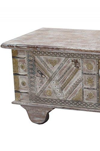 Orientalische Truhe Kiste aus Holz barthel 116cm groß   Vintage Sitzbank mit Aufbewahrung für den Flur   Aufbewahrungsbox mit Deckel im Bad   Betttruhe als