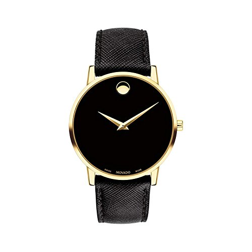 Movado Men's Museum Classic 40mm Black Leather Band Quartz Watch 0607195