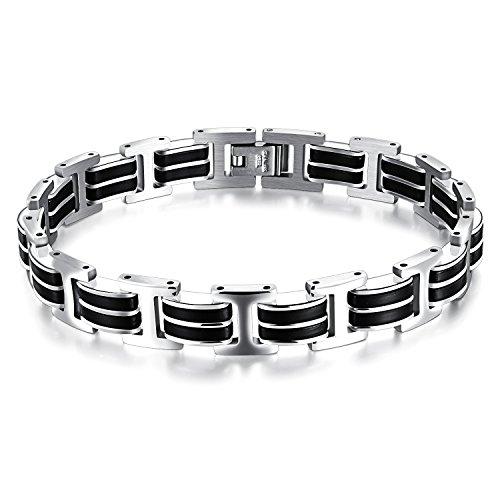M. JVisun Jewelry Hot vera Bracciale rigido in silicone e acciaio inox, colore: nero/argento, lunghezza 8.26