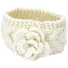 TININNA Inverno Caldo Fiori Lavorato a maglia Cable Knit Fascia per capelli Accessori per capelli Copricapo Hairband Cerchietti Turbante per le bambino Bianco