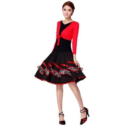 Damen Blusen und Rock mit Ruesche Borte zweiteilig Latin tanzenkleid Rot