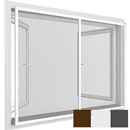 easy life Insektenschutz-Fenster Comfort XXL 150 x 220 cm proLINE Fliegengitter mit Alu-Rahmen für französische Fenster kürzbar ohne Bohren & Schrauben mit Dichtungsbürste, Farbe:Weiß