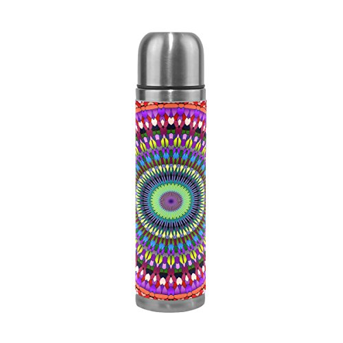 TIZORAX Hippie Mandala Bohemia Psicedelic Doble Pared Taza de vacío Aislado Acero Inoxidable Botella de Agua Taza de Viaje termos Taza de café 17 oz