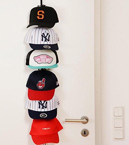 Baseball-regal (Cap Buddy Caprack36 - Schwarz mit 12 Clips - Für 12 bis 36 Baseball Caps - von Perfect Curve)