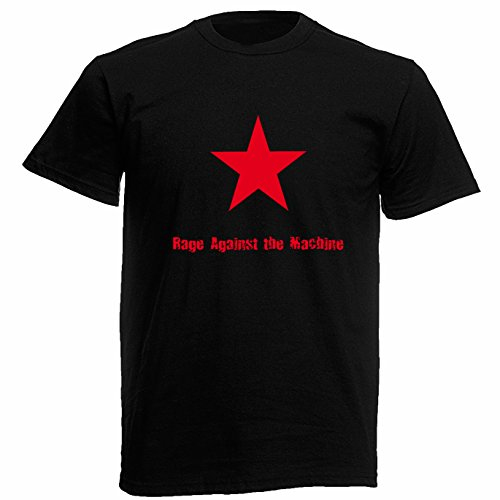 T-shirt Uomo - Rage Against the Machine maglietta con stampa rock 100% cotonee LaMAGLIERIA,M, Nero