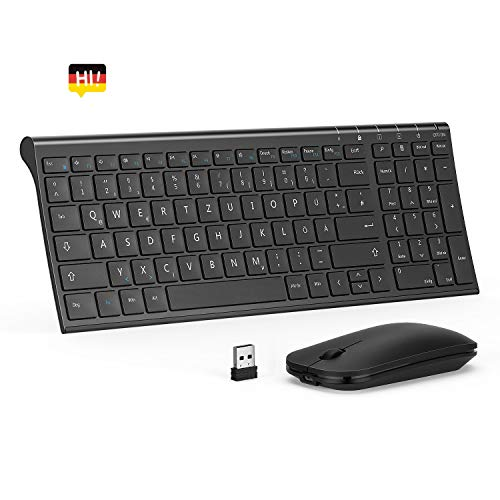 seenda Tastatur Maus Set, Wiederaufladbare Kabellose Tastatur mit Ziffernblock und optische Maus, kompatibel mit Windows und Mac OS, Schwarz