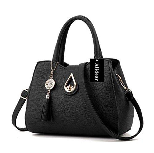 Alidier Neue Marke und Qualität 2016 Neue neue Welle Paket Kuriertasche Damen weiblichen Beutel Handtaschen für Frauen Handtasche Schwarz (Neue Handtasche Frauen)