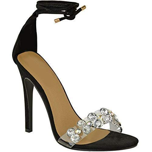 Damen Sandaletten mit hohem Stiletto-Absatz & Schnürung - Glitzer-Steine - Schwarz Veloursleder-Imitat - EUR 37