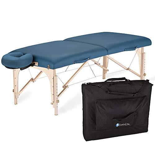 EARTHLITE Mobile Massageliege Harmony DX REIKI - Komplettpaket aus Ahornholz inkl. Verstellbarer Deluxe Kopfstütze & Tasche, Flugzeugbauqualität (14kg) (Earthlite Massagetische)