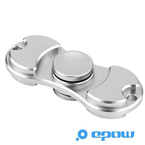 Preisvergleich Produktbild EPOW® Dual Hand Spinner Metall Silber Spielzeug Stress Reducer EDC Focus Spielzeug, Fidget Spinner Aluminium-Zink Si3N4 Keramiklager Entlastet ADD ADHD Angst und Langeweile Spins für 3