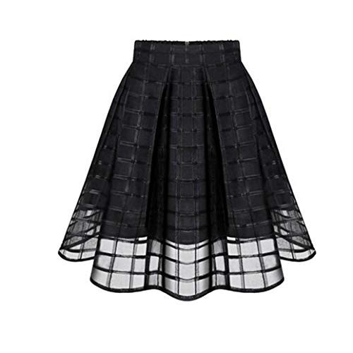 JiaMeng Damen Röcke, Frauen Solid Flared Retro Casual knielangen Plissee Mini Office Arbeit Rock Halloween Kostüme Damen (S, Schwarz *A)