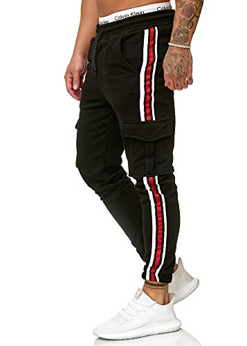 OneRedox Herren | Jogginghose | Trainingshose | Sport Fitness | Gym | Training | Slim Fit | Sweatpants Streifen | Jogging-Hose | Stripe Pants | Modell 1224 Schwarz XL