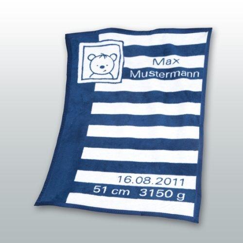 Herding 115021014 Baby coperta con data e i nomi Unicade 75 x 100 cm regalo perfetto per nascita o b