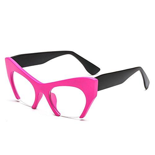 xuexue Einfach Sonnenbrille Populär Modisch Mode Ussia Halbrahmen Katzenauge Flacher Spiegel Individualität Diesy Retro Sonnenschutzspiegel,Pink+Black