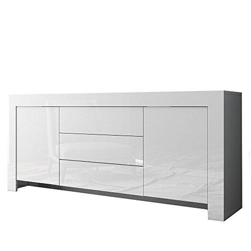 Valentini Meuble Buffet Bois laqué Blanc L183 x P47 x h82 cm Arredo CASA Design 202 m12bl