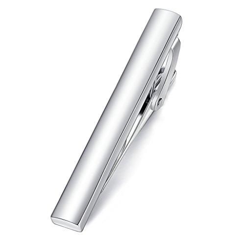 Honey Bear 4cm Herren Kinder Krawattennadel Krawattenklammer für schmale Krawatten Edelstahl Tie Clip (Glänzendes Silber)