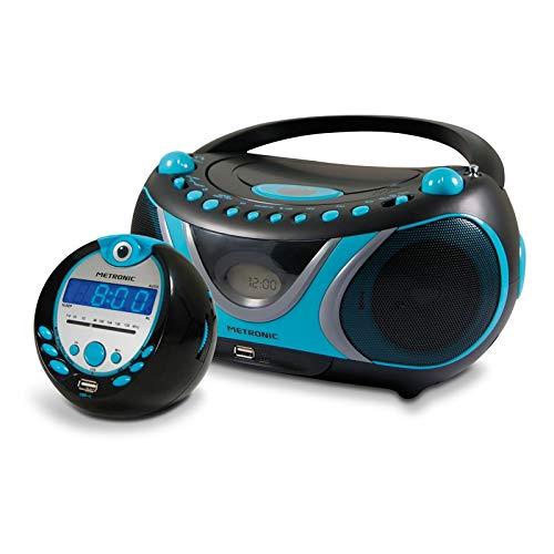 Metronic 477295 Set Sportsman Radio CD-MP3 USB Radiowecker blau schwarz blau blau blau