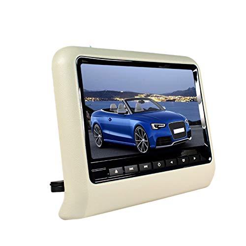 Semoic 9 Zoll Auto Kopf Stütze DVD Spieler Hintere Reihe Kissen Fern Bedienung LCD Beige (Dvd Kopf Auto)